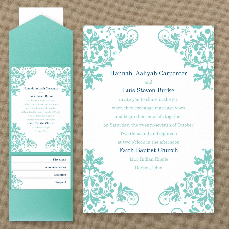 Vibrant Damask - Pocket Invitation   Persnickety Invitation Studio ...