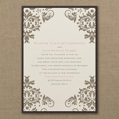 vibrant damask layered invitation wedding invitations carlson