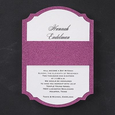 Rose Glitter - Bat Mitzvah - Invitation