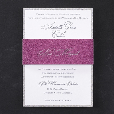 Girly Glitter - Bat Mitzvah Invitation