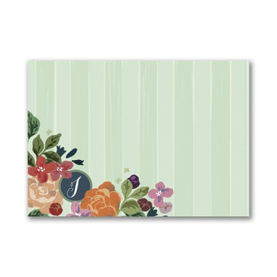 BoHo Flowers - Post It Note Set - Green