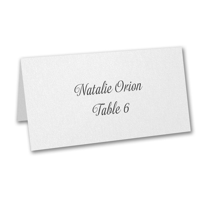 White Shimmer Place Card - Variable Print