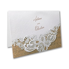 Rustic Battenburg Lace Thank You Note