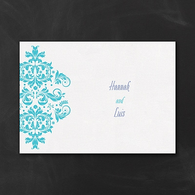 Vibrant Damask - Thank You Note and Envelope