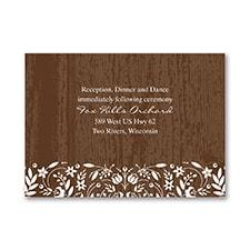 Woodland Flowers - Reception Card - Mocha