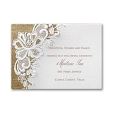 Rustic Battenburg Lace Reception Card