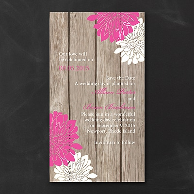 Rustic Rendezvous - Save the Date - Fuchsia