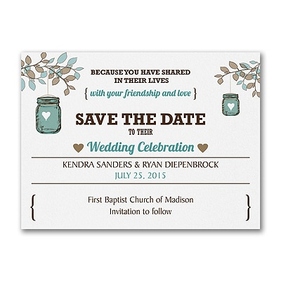 Jar Lantern - Save the Date - White