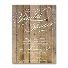 Vintage Woodgrain Love - Bridal Shower Invitation