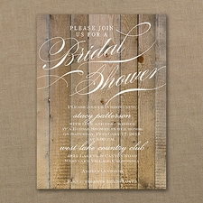 Bridal Shower Invitation: Vintage Woodgrain Love