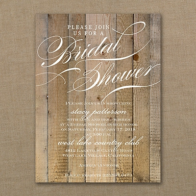 Vintage Woodgrain Love - Bridal Shower Invitation