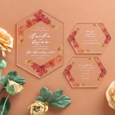 Burnt Floral Invitation - Clear Acrylic