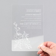 Pretty Peonies Invitation - Clear Acrylic