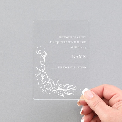 Pretty Peonies Response and Envelope - Clear Acrylic