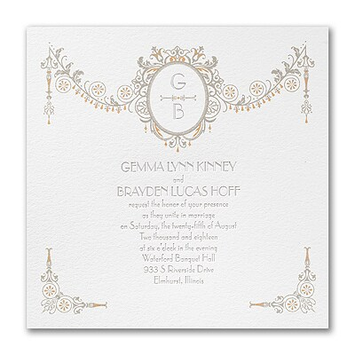 Deco Crush - Triple Thick Invitation - White