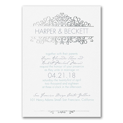 Vintage Now - Double Thick Invitation - White