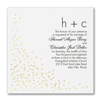 Confetti Toss - Double Thick Invitation - White