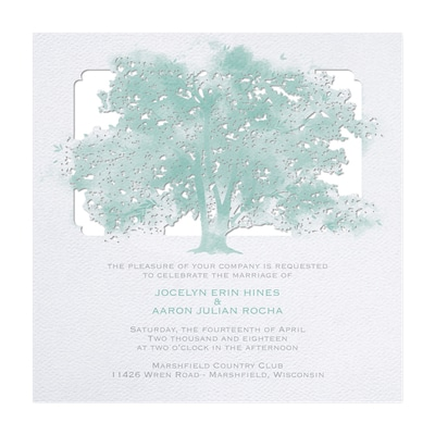 Leafy Lace - Invitation - White