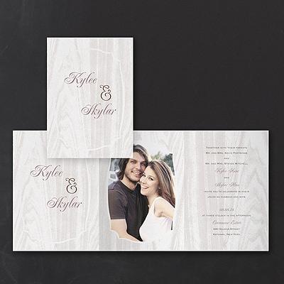 Naturally In Love - Photo Z-Fold Invitation - White