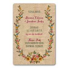Wood and Posies - Invitation