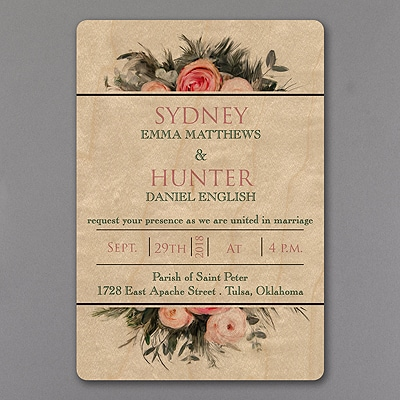 Wood and Roses - Invitation