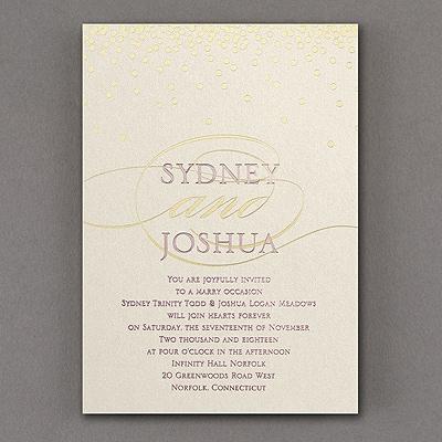 All Spangled Monogram - Invitation - Ecru Shimmer
