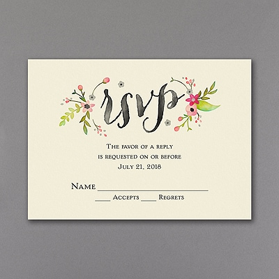 Wood and Petals - Response Card and Envelope