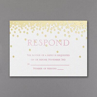 All Spangled Monogram - Response Card and Envelope - White Shimmer