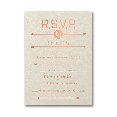 To the Wedding - Response Card and Envelope - Ecru Shimmer