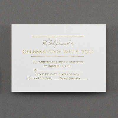 All In Line - Response Card and Envelope - White Shimmer