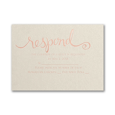 This Day Forward - Response Card and Envelope - Ecru Shimmer