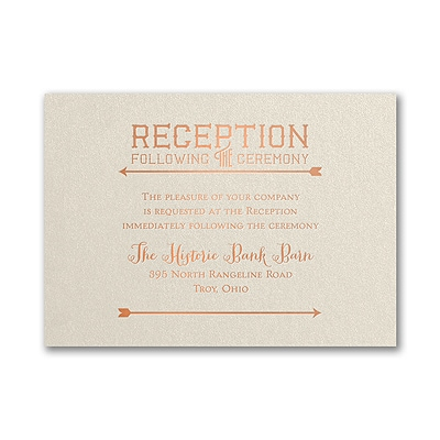 To the Wedding - Reception Card - Ecru Shimmer