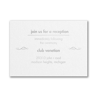 A Little Swirly - Reception Card - White Shimmer