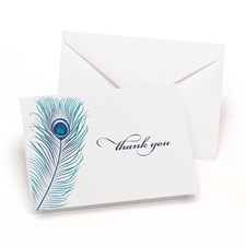 Peacock Feather - Thank You Card and Envelope