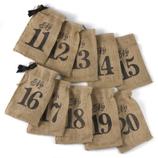 Burlap Table Number Wine Bags 11 - 20