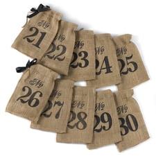 Burlap Table Number Wine Bags 21 - 30