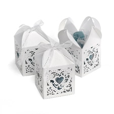 Square Decorative Favor Boxes - White