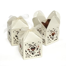 Square Decorative Favor Boxes - Ivory