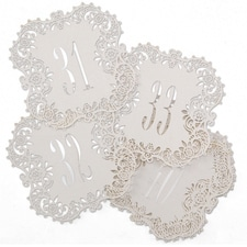 Laser-Cut - Table Number Cards 31-40 - White Shimmer