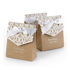 Naturally Vintage - Tent Favor Box - Personalized - Silver