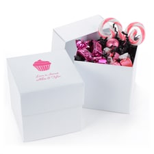 Two-piece Cupcake Box - Personalized - White Shimmer