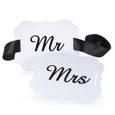 Mr. and Mrs. - Chair Banners - White
