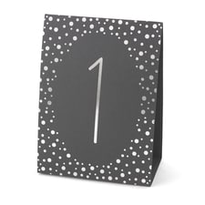 Polka Dot - Table Number Tents - Silver
