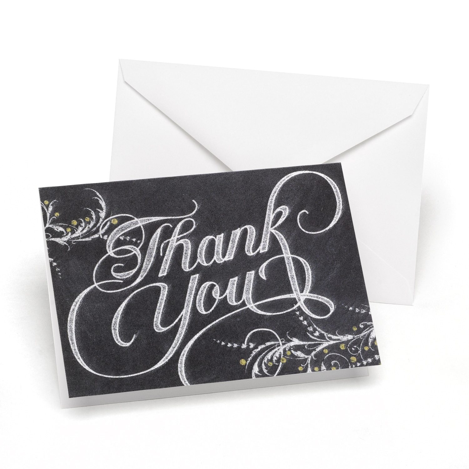 Whimsical Chalkboard New And Blank Thank You Greeting Note Cards