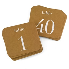 Table Number Cards - Silver
