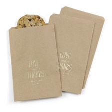 Love and Thanks Treat Bags - Kraft - Personalized