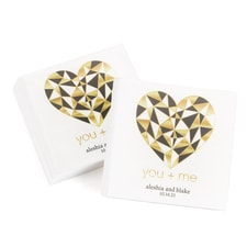 Geo Heart - Beverage Napkin - White - Personalized