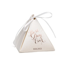 Pyramid Favor Box - Ecru Shimmer - Personalized