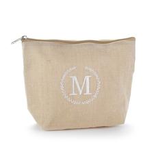 Rustic Wreath Custom Initial Jute Cosmetic Bag