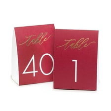 Burgundy Table Number Tents